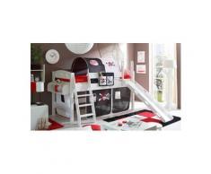 Ticaa Einzel-/Hochbett »Kenny« mit Rolllattenrost und Textil-Set, Kiefer massiv weiß, Textil Pirat schwarz-weiß, Mit Textil-Set und Matratze