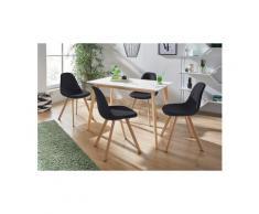 INOSIGN Essgruppe »Veneto«, (5-tlg), aus massivem Kiefernholz, bestehend aus Cody Esstisch 120 cm und 4er Set Veneto Stühle, schwarz