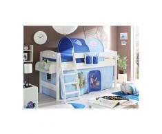 Ticaa Einzel-/Hochbett »Kenny« mit Rolllattenrost und Textil-Set, Kiefer massiv weiß, Textil Pirat hellblau-dunkelblau, Mit Vorhang