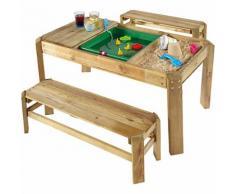 Spieltisch mit Bänken aus Holz