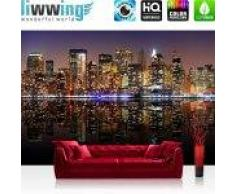 "liwwing (R) Vlies Fototapete ""New York Lights Skyline""   Vliestapete New York City USA Amerika Big Apple liwwing (R) 300x210cm - Vlies PREMIUM PLUS"
