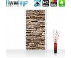 """liwwing (R) Tür Fototapete """"Noble Stone Wall - braun""""   100x211 cm   Steinwand Steinoptik Verblendsteine Wandverblender liwwing (R) Folie (selbstkl.) 100x211cm   PREMIUM PLUS"""