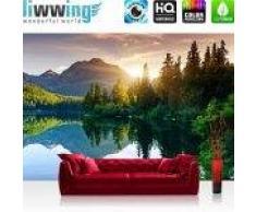 """liwwing (R) Vlies Fototapete """"Mountain Lake View""""   Vliestapete Berge See Sonnenuntergang Romantisch Bäume Wald liwwing (R) 350x245cm - Vlies PREMIUM PLUS"""