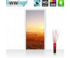 """liwwing (R) Tür Fototapete """"no. 238""""   100x211 cm   Sonnenaufgang Baum Natur Feld liwwing (R) Folie (selbstkl.) 100x211cm   PREMIUM PLUS"""