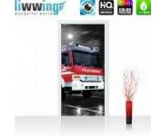 """liwwing (R) Tür Fototapete Türtapete """"no. 541""""   91x211 cm   Feuerwehr Auto Nacht Mond liwwing (R) 91x211cm   Vlies PREMIUM PLUS"""