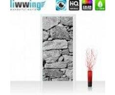 "liwwing (R) Tür Fototapete ""Black and White Stone Wall""   100x211 cm   Steinmauer Steine Steinwand Steinoptik 3D liwwing (R) 100x211cm   Vlies PREMIUM PLUS"