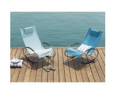 Gartenstuhl hellblau Textilene Schaukelfunktion CAMPO