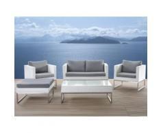 Lounge Set Rattan weiß 5-Sitzer Auflagen grau CREMA