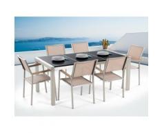 Gartenmöbel Set Naturstein schwarz poliert 180 x 90 cm 6-Sitzer Stühle beige GROSSETO
