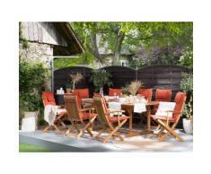 Gartenmöbel Set Holz 8-Sitzer mit Auflagen terracotta MAUI