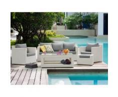 Lounge Set Rattan weiß 6-Sitzer Auflagen grau ROMA