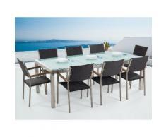 Gartenmöbel Set Crashglas 220 x 100 cm 8-Sitzer Stühle Rattan schwarz GROSSETO