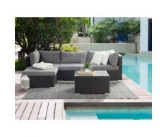 Lounge Set Rattan schwarz 4-Sitzer SANO II