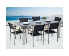 Gartenmöbel Set Glasplatte schwarz 180 x 90 cm 6-Sitzer Stühle Textilbespannung schwarz GROSSETO