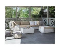 Lounge Set Rattan weiß 4-Sitzer SANO II
