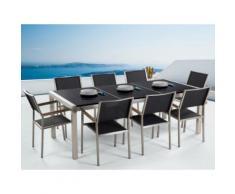 Gartenmöbel Set Naturstein schwarz poliert 220 x 100 cm 8-Sitzer Stühle Textilbespannung GROSSETO