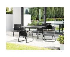 Gartenmöbel 4er Set schwarz CANETTO