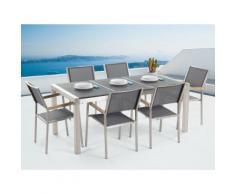 Gartenmöbel Set Naturstein schwarz geflammt 180 x 90 cm 6-Sitzer Stühle grau GROSSETO