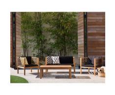Gartenmöbel Set Holz 4-Sitzer Auflagen schwarz PACIFIC