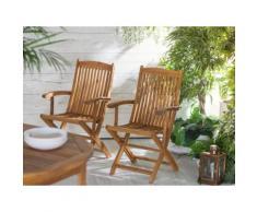 Gartenstuhl hellbraun Akazienholz mit Armlehnen MAUI