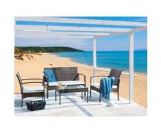 Lounge Set Rattan braun 4-Sitzer Auflagen cremeweiß MARSALA