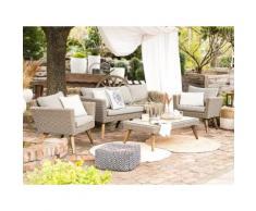 Gartenmöbel Set Rattan braun/grau VITTORIA XL