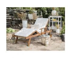 Gartenliege White Balau Holz mit Auflage cremeweiß rollbar JAVA