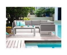 Lounge Set Aluminium weiß 6-Sitzer Auflagen grau VINCI