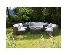 Lounge Set Rattan hellbraun 9-Sitzer rund Auflagen weiß SEVERO