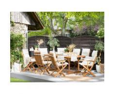 Gartenmöbel Set Holz 8-Sitzer mit Auflagen cremeweiß MAUI