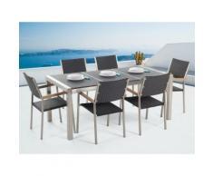Gartenmöbel Set Naturstein schwarz geflammt 180 x 90 cm 6-Sitzer Stühle Rattan GROSSETO