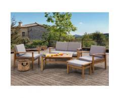 Lounge Set Holz braun 4-Sitzer Auflagen taupe MANILA