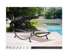 Gartenliege Stahl grau Sonnendach verstellbar TERNO