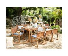 Gartenmöbel Set Akazienholz hellbraun 8-Sitzer mit Sitzkissen blau SASSARI