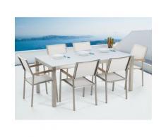 Gartenmöbel Set Glasplatte weiß 180 x 90 cm 6-Sitzer Stühle Textilbespannung weiss GROSSETO
