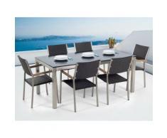 Gartenmöbel Set Glasplatte schwarz 180 x 90 cm 6-Sitzer Stühle Rattan schwarz GROSSETO