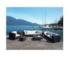 Lounge Set Rattan schwarz 8-Sitzer Auflagen cremeweiß MAESTRO