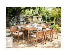 Gartenmöbel Set Akazienholz 8-Sitzer mit Sitzkissen taupe SASSARI