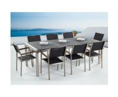 Gartenmöbel Set Naturstein schwarz geflammt 220 x 100 cm 8-Sitzer Stühle Textilbespannung GROSSETO