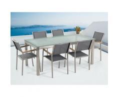 Gartenmöbel Set Crashglas 180 x 90 cm 6Sitzer Stühle Textilbespannung grau GROSSETO