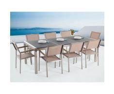 Gartenmöbel Set Naturstein schwarz geflammt 220 x 100 cm 8-Sitzer Stühle beige Textilbespannung GROSSETO