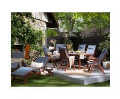 Gartenmöbel Set Holz oval mit Auflagen blau TOSCANA
