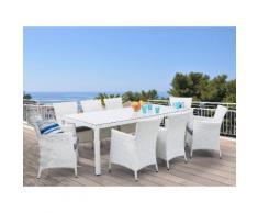 Gartenmöbel Set Rattan weiß 220 x 100 cm 8-Sitzer Auflagen grau ITALY