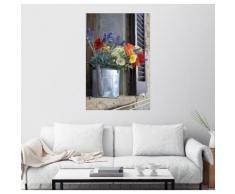 Posterlounge Wandbild - Keenpress »Eine Gießkanne mit Blumen auf einem Fensterbr...«