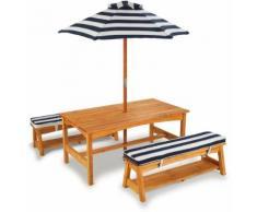 KidKraft® Kindersitzgruppe »Gartentischset hellbraun«, mit Sitzauflagen und Sonnenschirm, marineblau-weiß gestreift