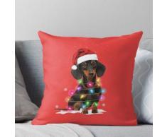 Dackel Weihnachtsbeleuchtung mit Schneepullover Kissen
