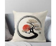 Enso Circle und Bonsai Tree auf Leinwand Kissen