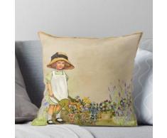 Weinlesemädchen mit Schubkarre in der Gartenillustration Kissen