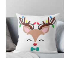 Rudolph Red Nose Ren mit roter Nase und Weihnachtsbeleuchtung im Geweih Kissen