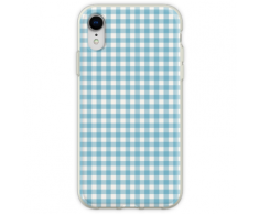 Blaue Picknickdecke Gingham Cottagecore Flexible Hülle für iPhone XR